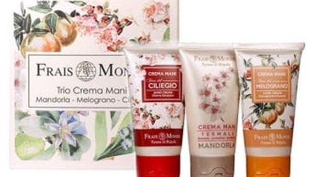 Frais Monde Cherry Blossoms 150 ml dárková kazeta dárková sada pro ženy krém na ruce Cherry Blossoms 50 ml + krém na ruce Pomegranate Flowers 50 ml + krém na ruce Almond 50 ml