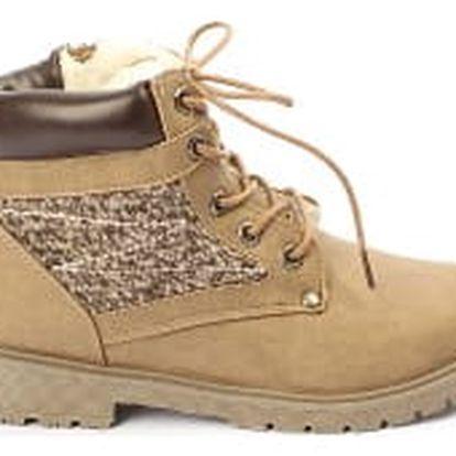 Moderní dámské kotníkové boty zateplené kožíškem KHAKI