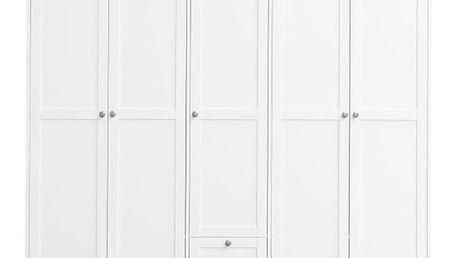 Bílá pětidveřová šatní skříň se 2 zásuvkami Intertrade Landwood