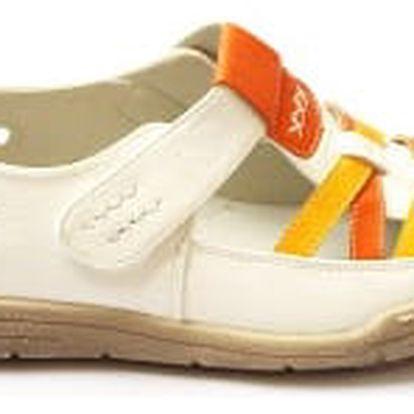Kvalitná dámské zdravotní boty s koženou stélkou bélo-oranžové