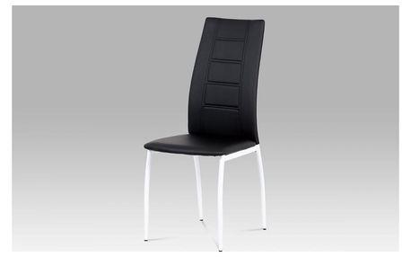 Jídelní židle AC-1196 BK černá koženka / bílý lak Autronic