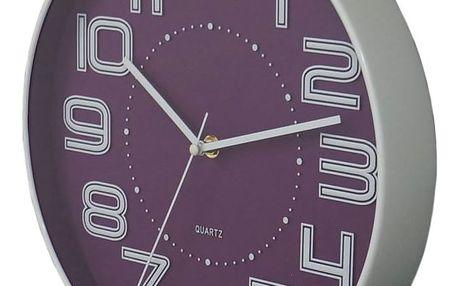 Koopman COLOR 35238 Nástěnné hodiny s reiléfem čísla 30,5 cm - FIALOVÉ