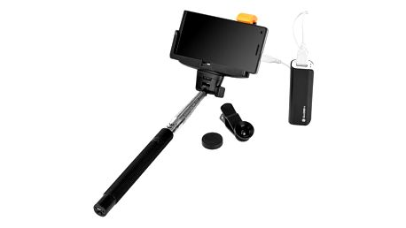 Selfie tyč GoGEN 3in1, selfie tyč, power bank, mini objektiv černá (GOGBTSELFIEKIT3IN1)