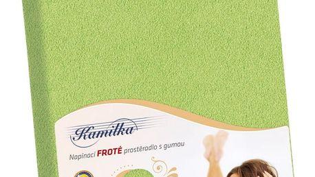 Bellatex Froté prostěradlo Kamilka olivová, 160 x 200 cm