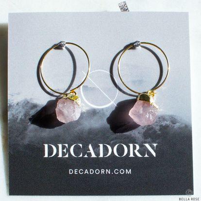 DECADORN Kroužkové náušnice Mini Rose Quartz/Gold, růžová barva, zlatá barva, kov, kámen