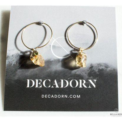 DECADORN Kroužkové náušnice Mini Citrine/Gold, žlutá barva, oranžová barva, zlatá barva, kov, kámen