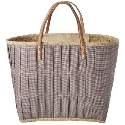 rice Slaměná taška Checked Brown, béžová barva, hnědá barva, textil