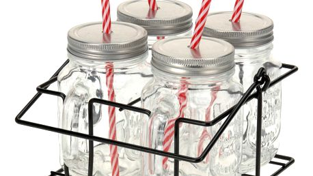 Skříňka na sklenice na nápoje 4x skelnice se slámkou, kovový stojan - sada na grilování, piknik, pláž EH Excellent Houseware