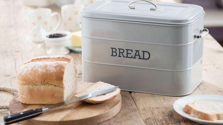 Kitchen Craft Kovový box na pečivo Bread French grey, šedá barva, kov