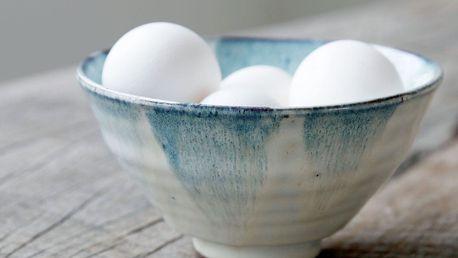 House Doctor Keramická miska Mio White/blue, modrá barva, bílá barva, krémová barva, keramika