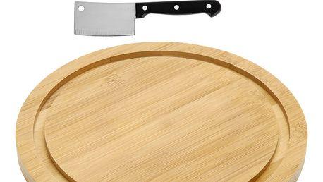 Bambusové krájecí prkénko, kulaté + 3 nože EH Excellent Houseware