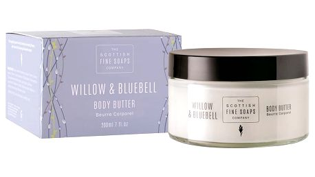 SCOTTISH FINE SOAPS Tělové máslo ve skleněné dóze Willow & Bluebell, modrá barva, sklo, papír