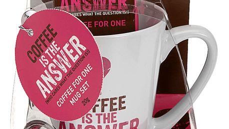 Vánoční dárkový set: hrnek Coffee is the answer, růžová barva Emako