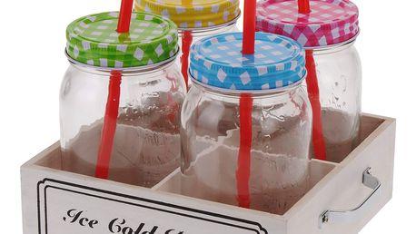 4x sklenice na nápoje + slámka - sada na grilování, piknik, pláž EH Excellent Houseware