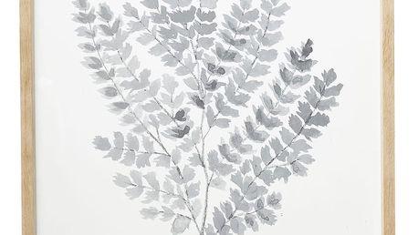 Hübsch Dřevěný rám s obrázkem Leaves, bílá barva, sklo, dřevo