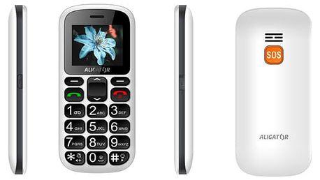 Mobilní telefon Aligator A321 Senior Dual SIM bílý (A321WT)