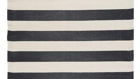 IB LAURSEN Plastový koberec Recykled Black Stripes 120x180, černá barva, plast