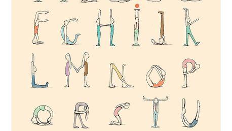 Maileg Plakát Jógová abeceda, multi barva, papír