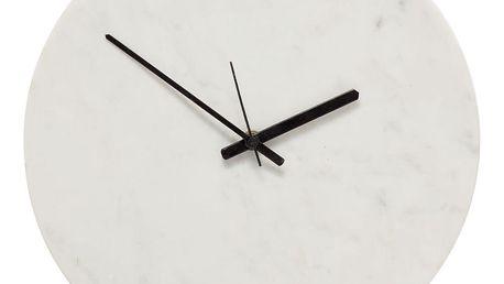 Hübsch Mramorové hodiny White, bílá barva, mramor