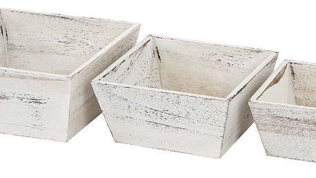 Set 3 bílých dřevěných misek Mendler Shabby Vintage