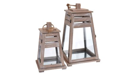 Dřevěná lucerna s rukojetí, svícen - 2 ks Home Styling Collection