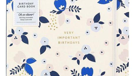 Busy B Kniha narozenin Very important birthdays Pretty, modrá barva, krémová barva, papír