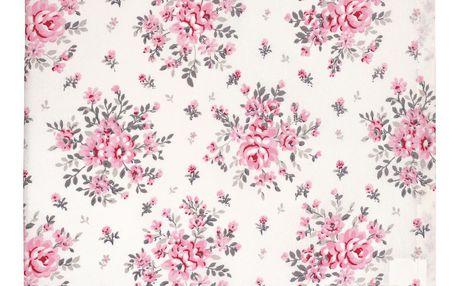 GREEN GATE Bavlněný ubrus Flora white 140x140 cm, růžová barva, bílá barva, textil