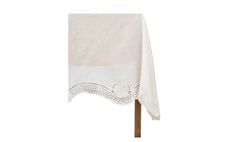 Chic Antique Ubrus s háčkovaným lemem 240x140, bílá barva, textil