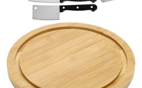 EH Excellent Houseware Bambusové krájecí prkénko, kulaté + 3 nože