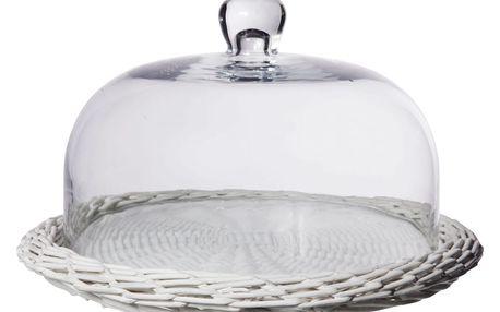 CÔTÉ TABLE Proutěný podnos s poklopem Josephine, bílá barva, čirá barva, sklo, proutí