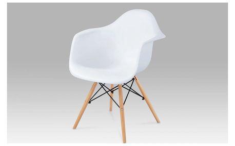 Jídelní židle, plast bílý / natural Autronic