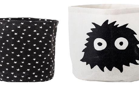 Bloomingville Úložné koše do dětského pokojíčku - set 2ks, černá barva, bílá barva, textil