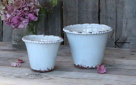 Chic Antique Obal na květiny Lace Edge 12cm, modrá barva, keramika 15cmx10cm