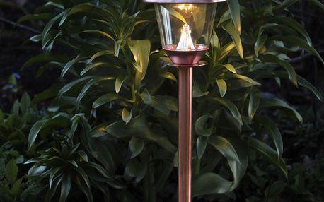 STAR TRADING Zahradní světlo na solární napájení Copper 66 cm, měděná barva, sklo, kov
