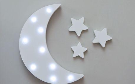 Smiling Faces Svítící LED měsíc, bílá barva, dřevo