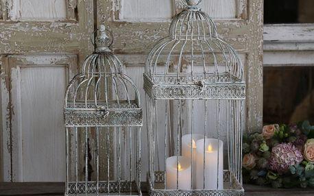 Chic Antique Dekorativní ptačí klec Antique Větší, béžová barva, kov