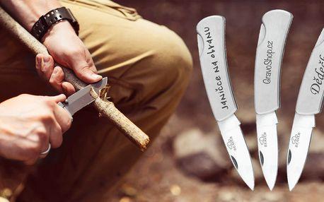 Gravírovaný otevírací nerez nůž s vlastním textem