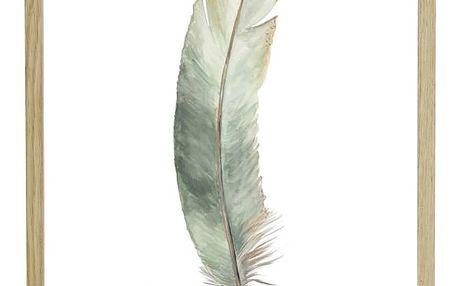 Hübsch Rámeček s obrázkem Feather Oak, béžová barva, dřevo
