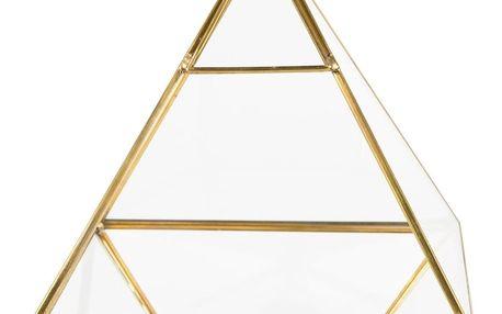 sass & belle Skleněný box Pyramid Brass, zlatá barva, čirá barva, sklo, kov