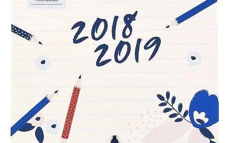 Busy B Nástěnný kalendář Pretty 2018/2019, modrá barva, papír