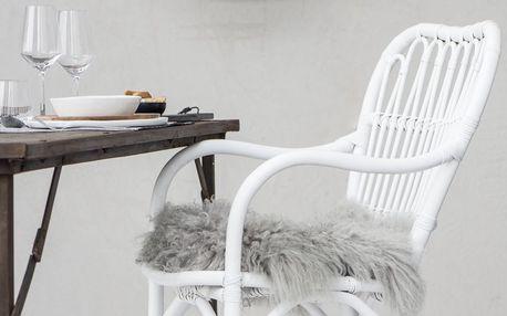 IB LAURSEN Ratanová židle White, bílá barva, dřevo