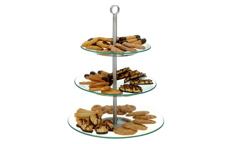 Skleněný kulatý podnos na cukrovinky a ovoce - 3 patra EH Excellent Houseware