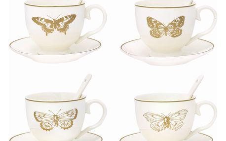 GREEN GATE Šálky na espresso Butterfly - set 4 ks, bílá barva, zlatá barva, porcelán