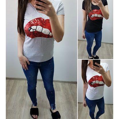 Dámské tričko s flitry Kiss
