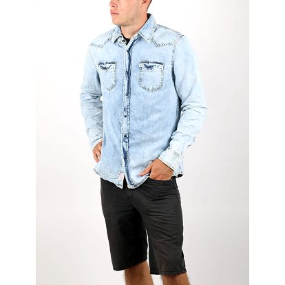 Košile Alcott LONG SLEEVES DENIM SHIRT WESTERN CARRÈ Modrá