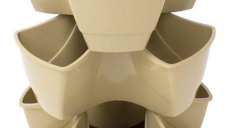 PROSPERPLAST COUBI květináč 29,5x29,5x38cm, béžová DKN3003