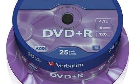 Verbatim DVD+R 4,7GB, 16x, 25-cake (43500)