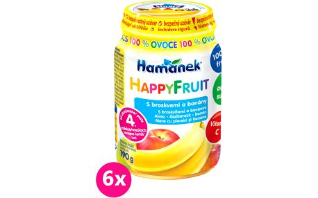 6x HAMÁNEK HappyFruit 100% S broskvemi a banánem, (190 g) - ovocný příkrm