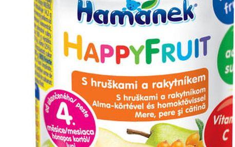 6x HAMÁNEK HappyFruit 100% s hruškami a rakytníkem - ovocný příkrm