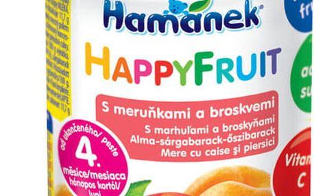 6x HAMÁNEK HappyFruit 100% s broskvemi a meruňkou, (190 g) - ovocný příkrm